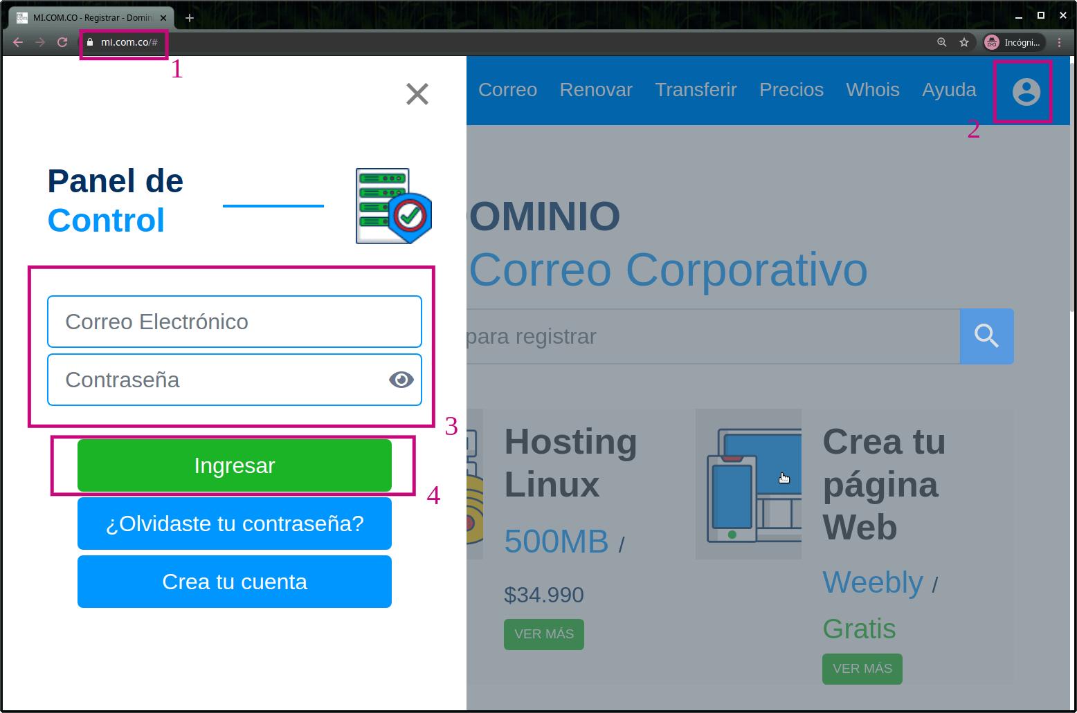 Ingreso a mi.com.co