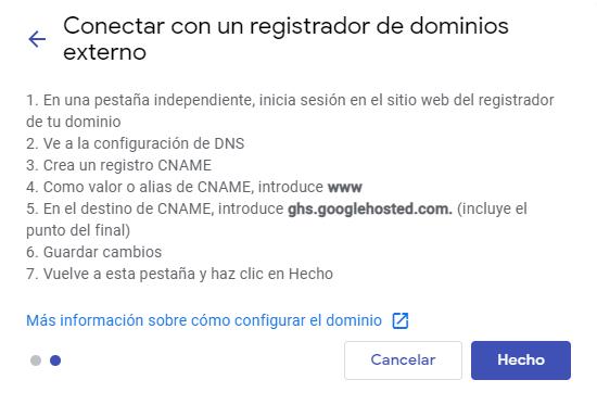 Google Sites, Dominio.